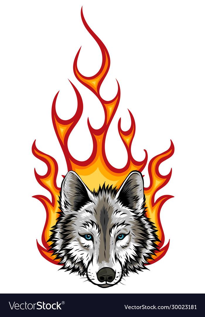 Wolf flaming fire logo mascot design