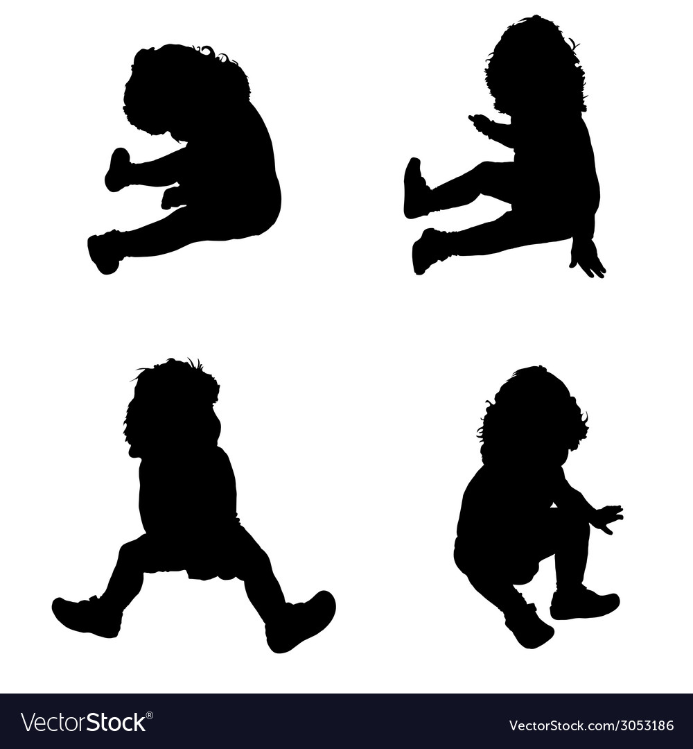 Baby in a sitting position silhouette