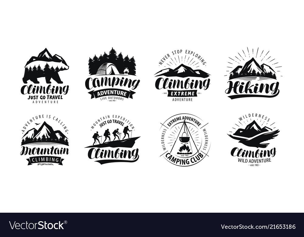 Camping climbing logo or label hiking trip hike