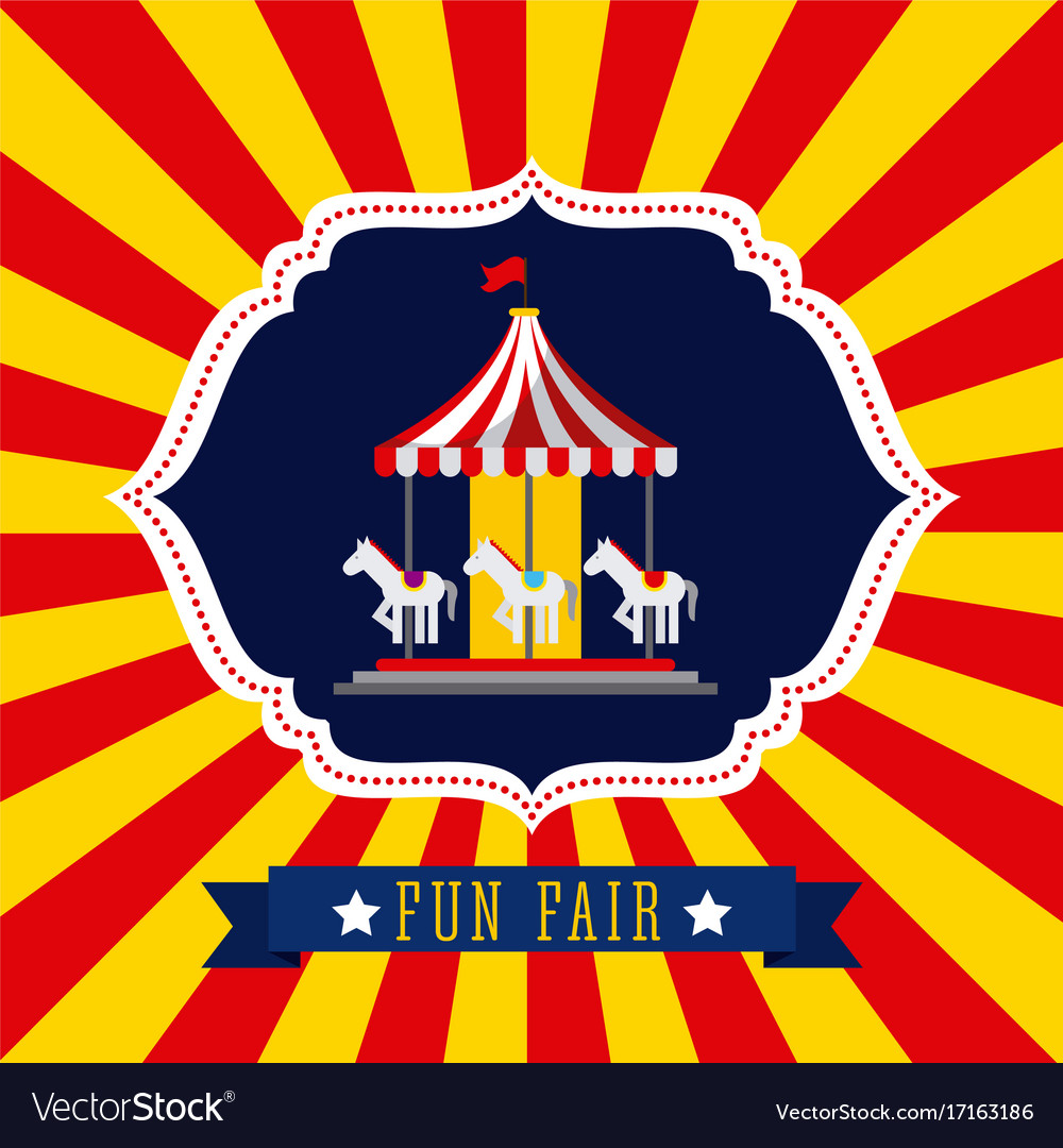 Carousel amusement fun fair theme park poster