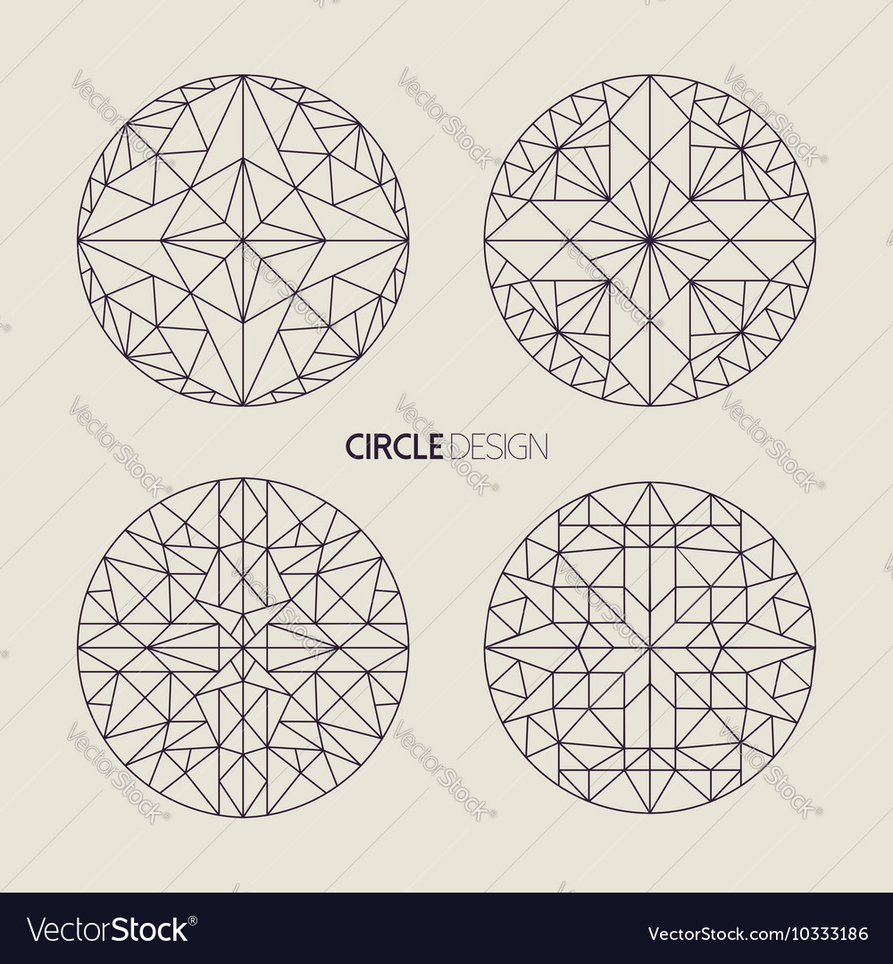 Circle symbol set in line art geometry style vector image