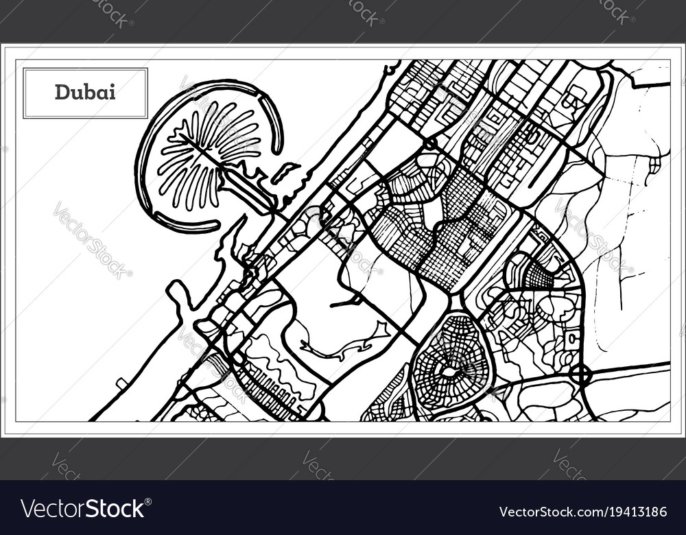 Dubai Uae City Map In Black And White Color Vector Image