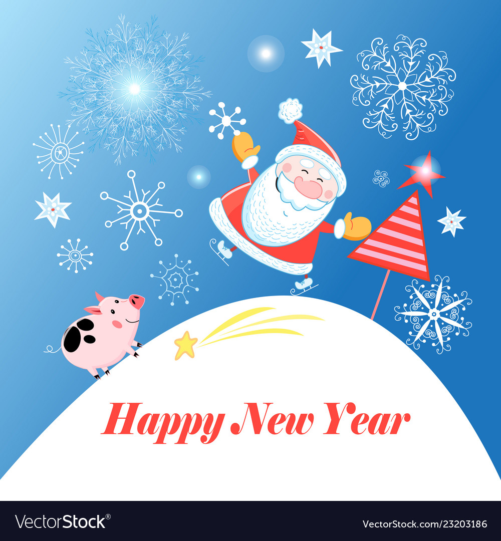 Greeting christmas card with santa claus and a pig
