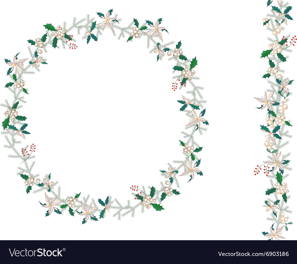 Round Christmas wreath with poinsettia isolated on