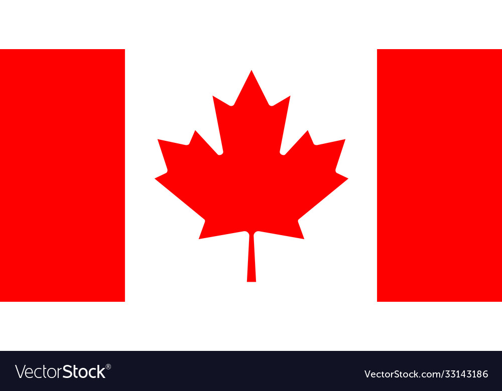 Straight horizontal white-red canadian flag