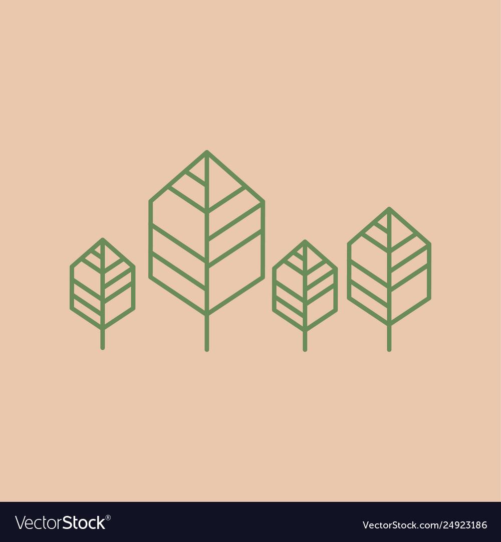 Trees line minimalist icon