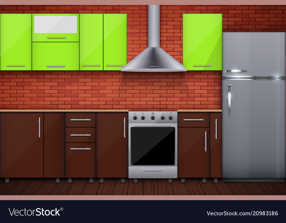 Typical Modular Kitchen Royalty Free Vector Image