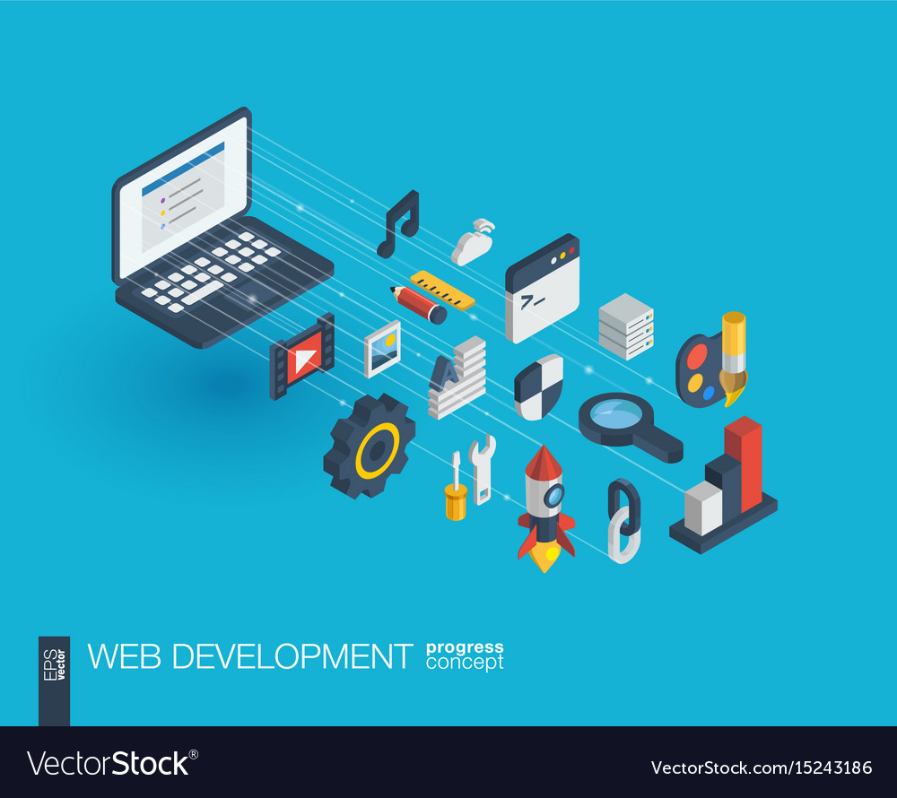 Web development integrated 3d icons growth and