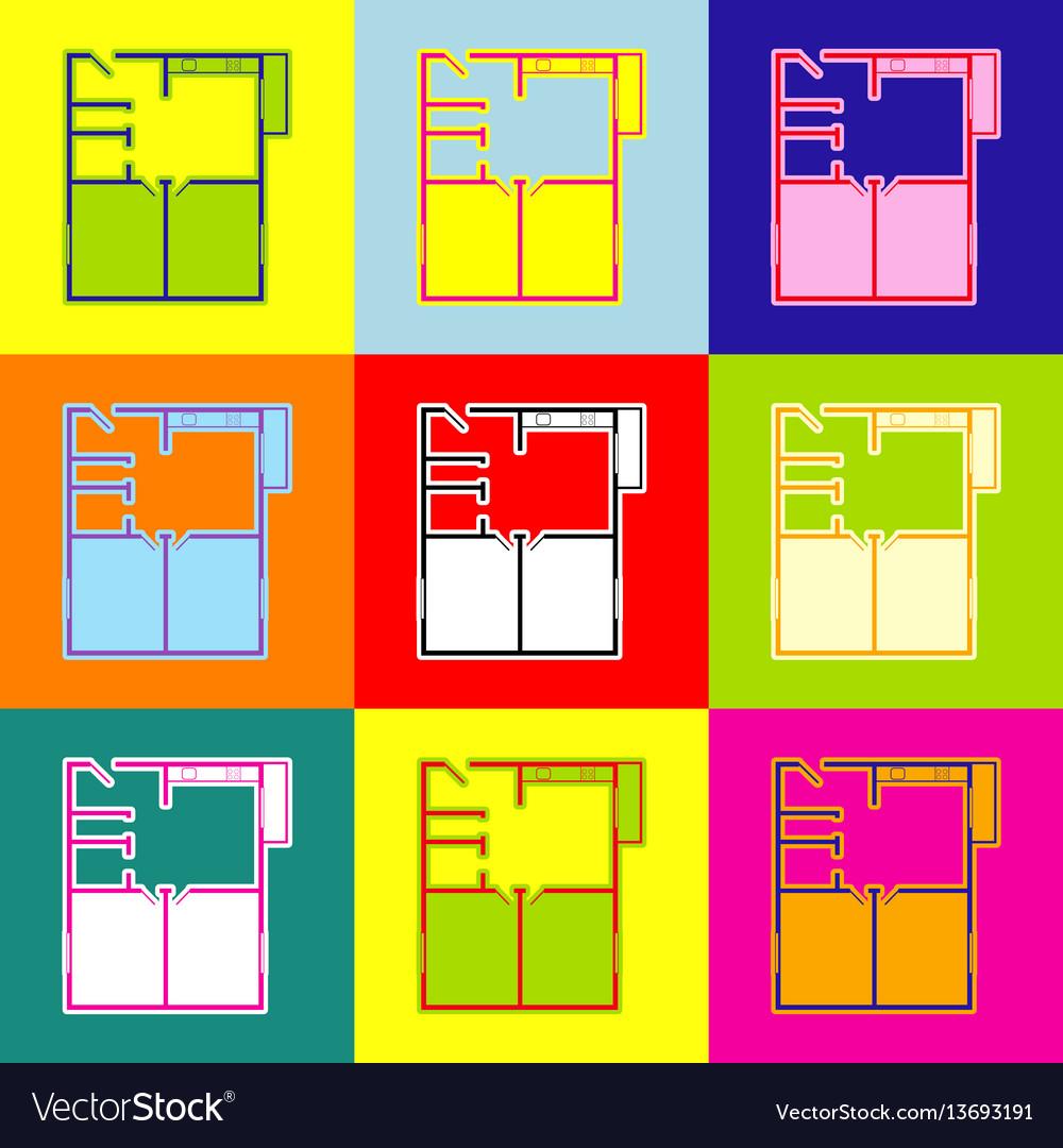 Apartment House Floor Plans Pop Art Style Vector Image