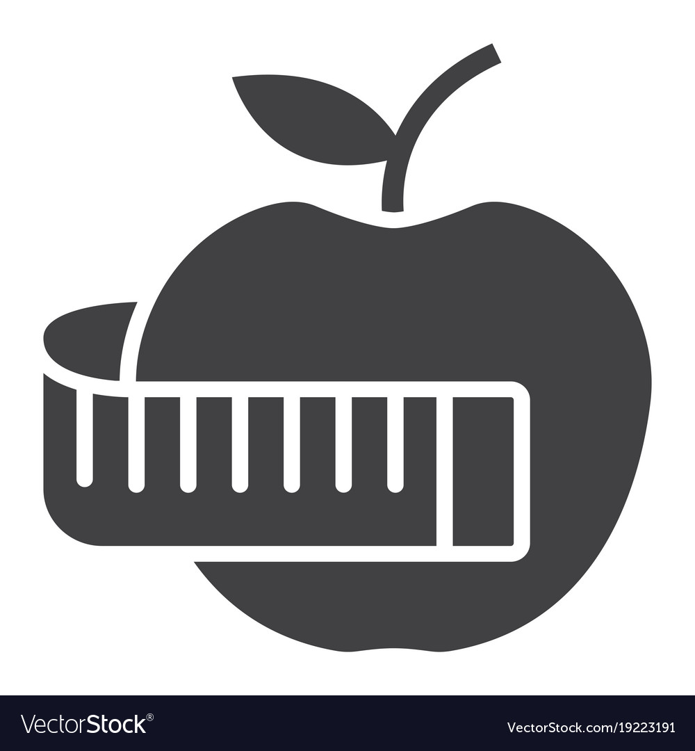 Apple with measuring tape glyph icon fitness vector image