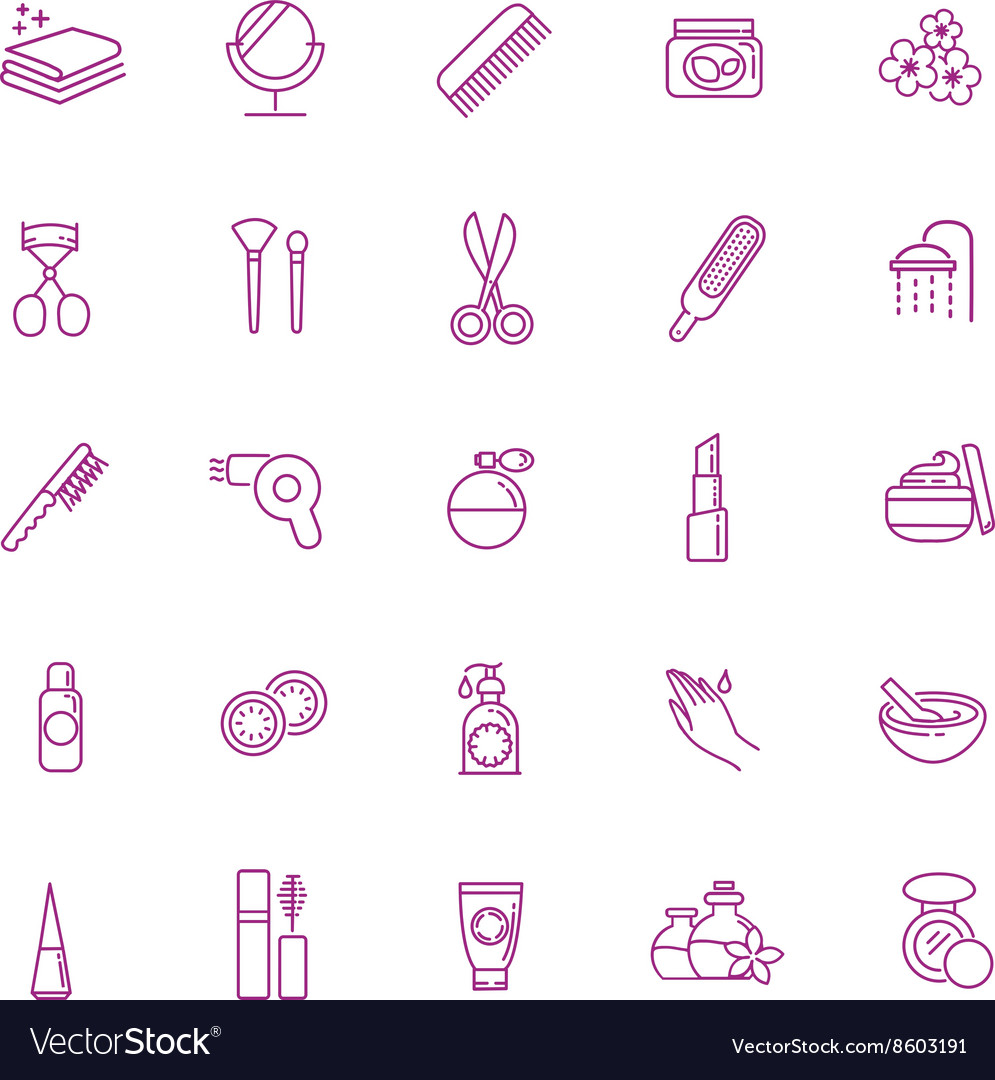 Beauty icons set Cosmetic and fashion vector image