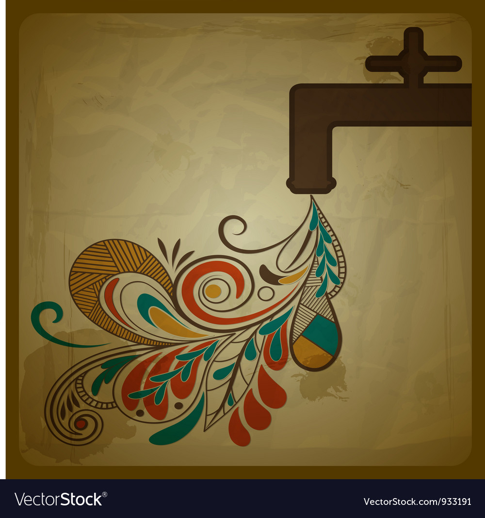 Eco concept composition with a water tap and flora vector image