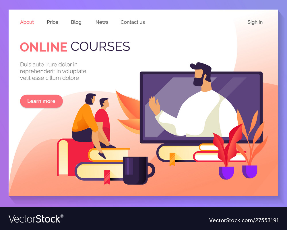 Education and webinars online courses web banner