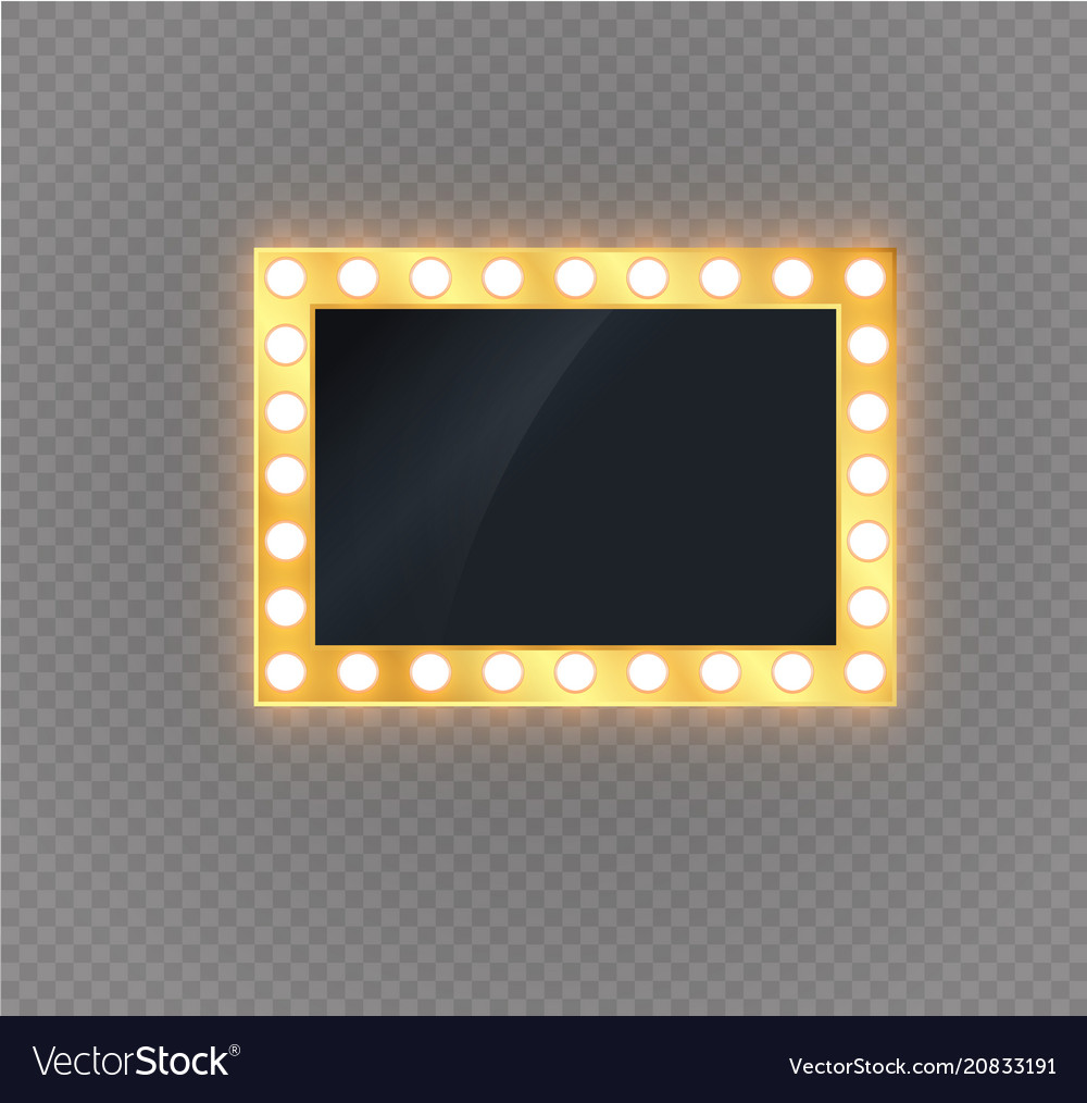 Hollywood lights illuminated realistic banner