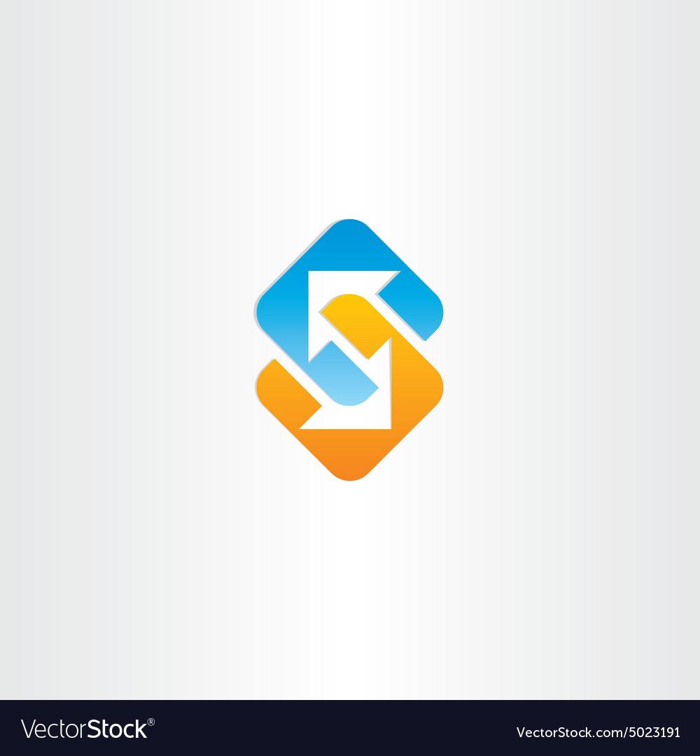 Letter s arrows symbol vector image