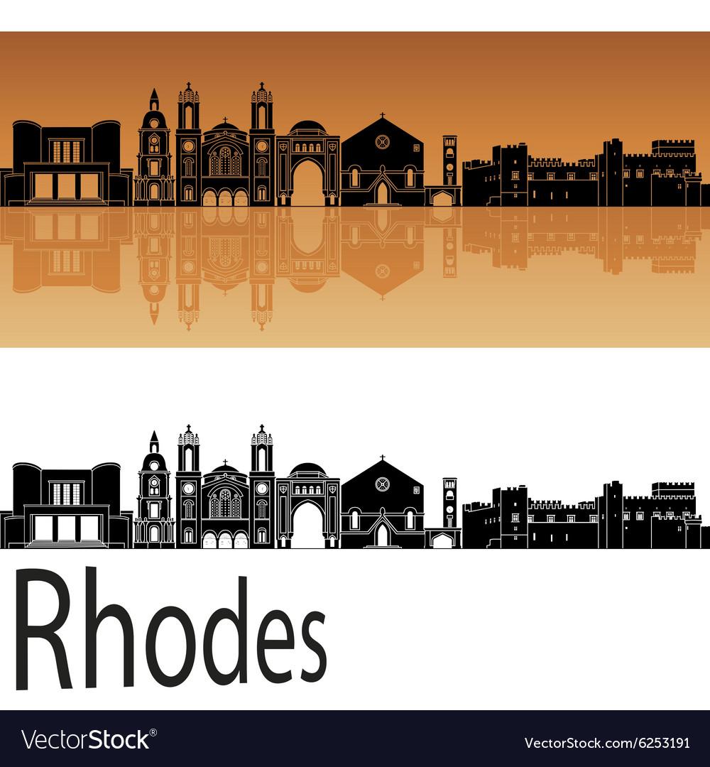 Rhodes skyline in orange vector image