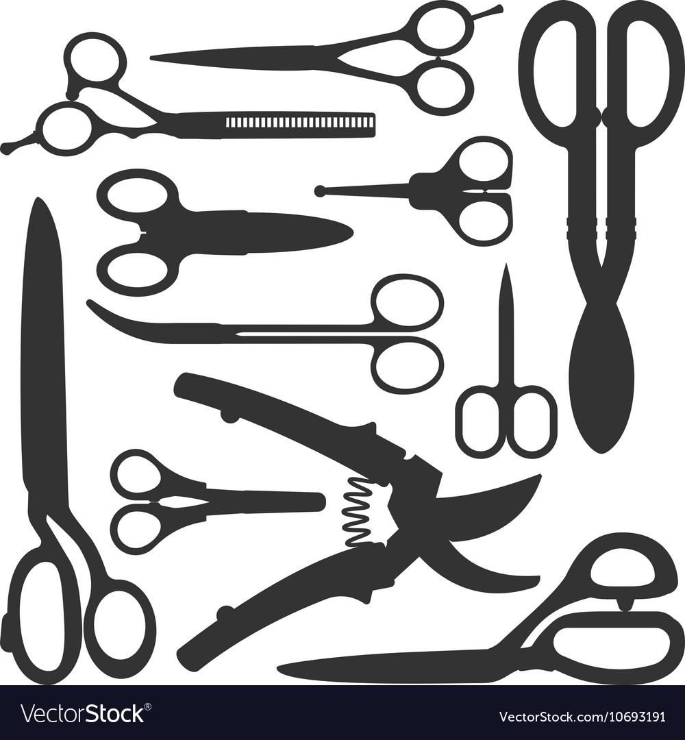 Scissors icons set vector image