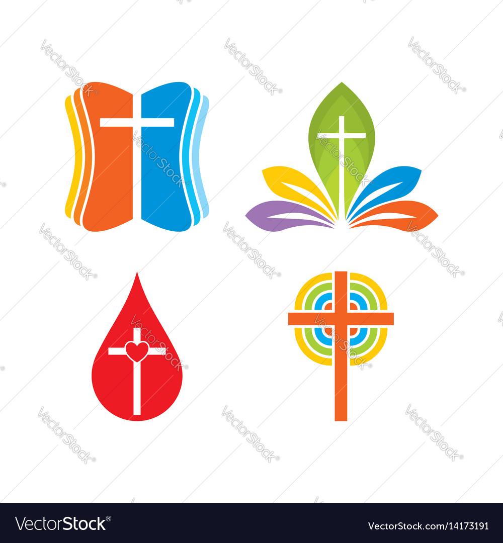 set of christian logos royalty free vector image