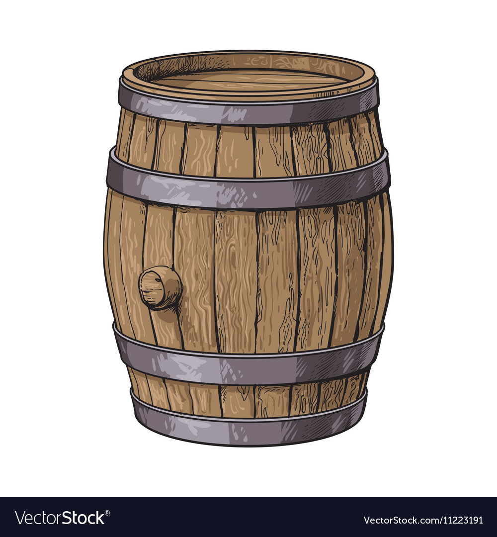 Side view of sketch style standing wooden barrel