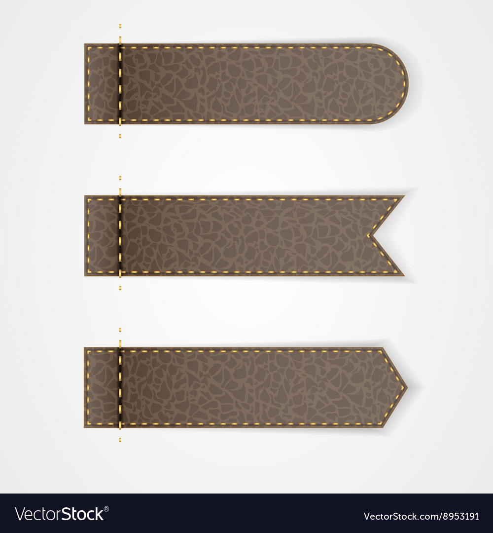 Three brown leather VIP label with gold thread