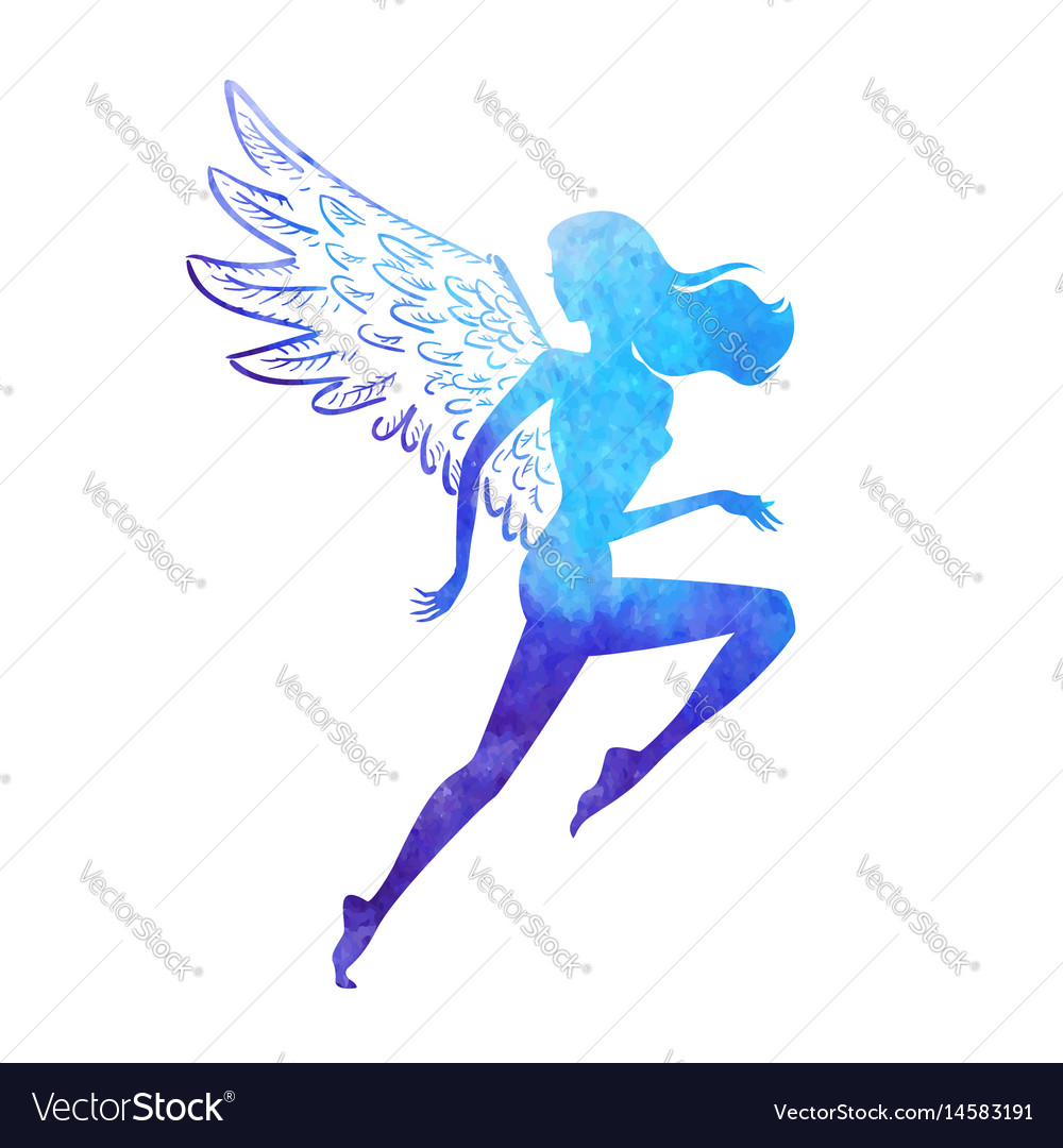 Watercolor runner angel vector image