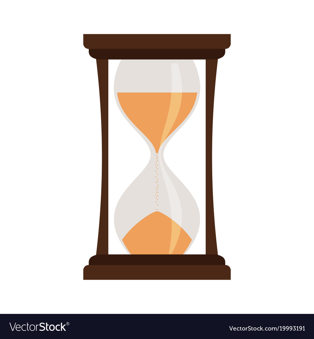 Yellow hourglass isolated on white vector image