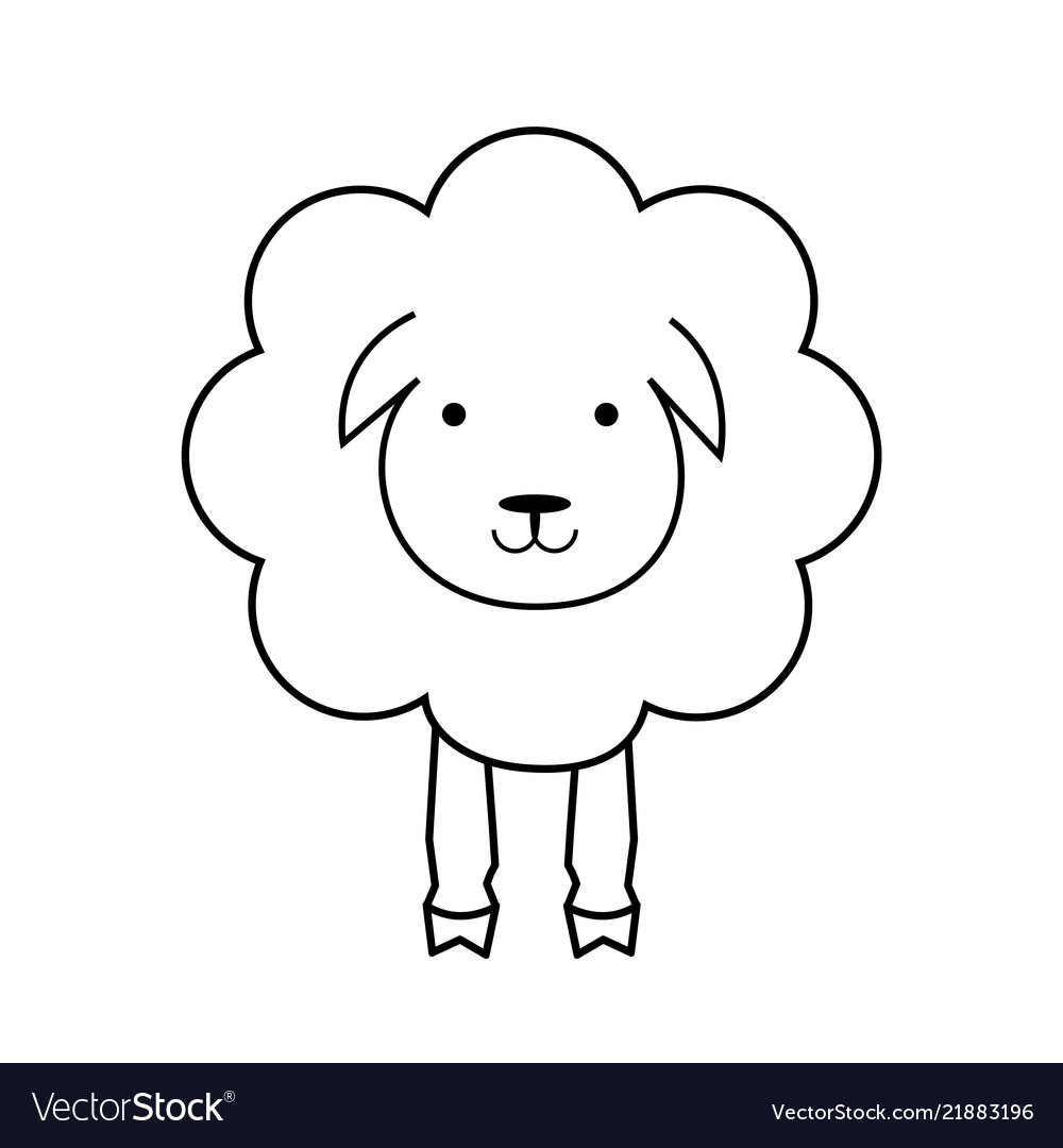 Cartoon sheep line outline icon wool textile sign