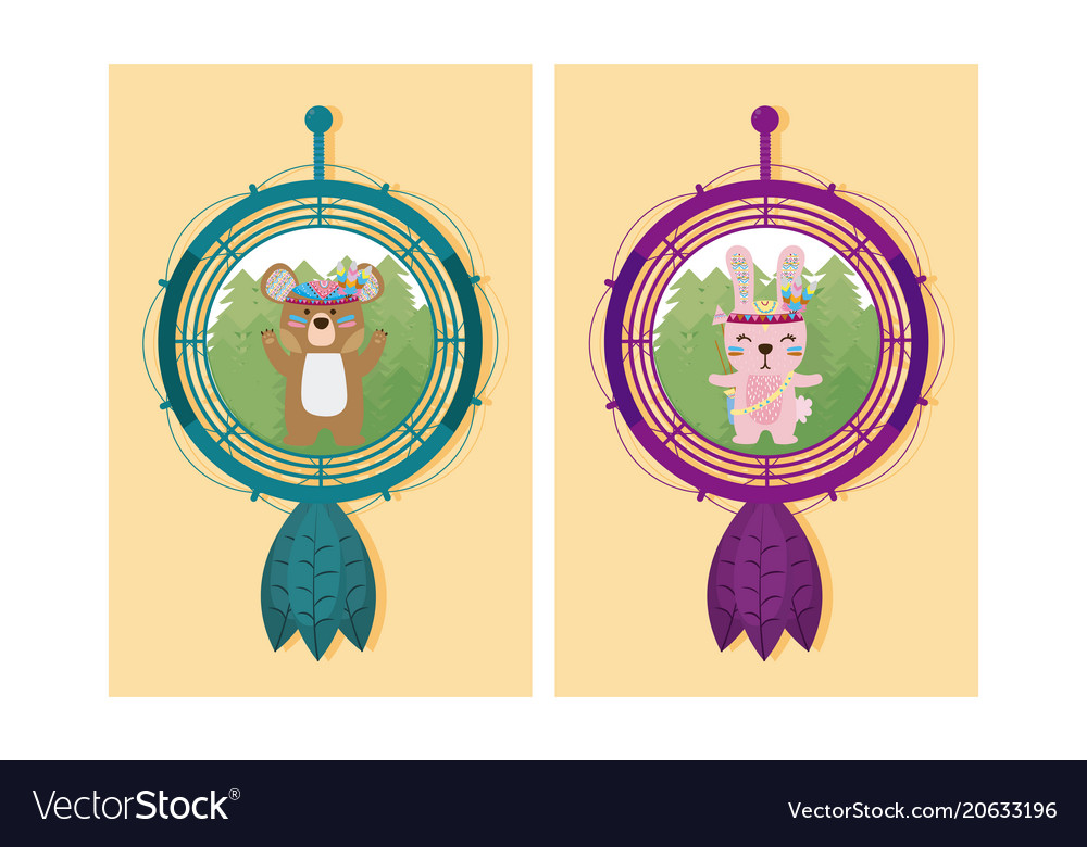 Cute animals cartoon on dream catcher vector image
