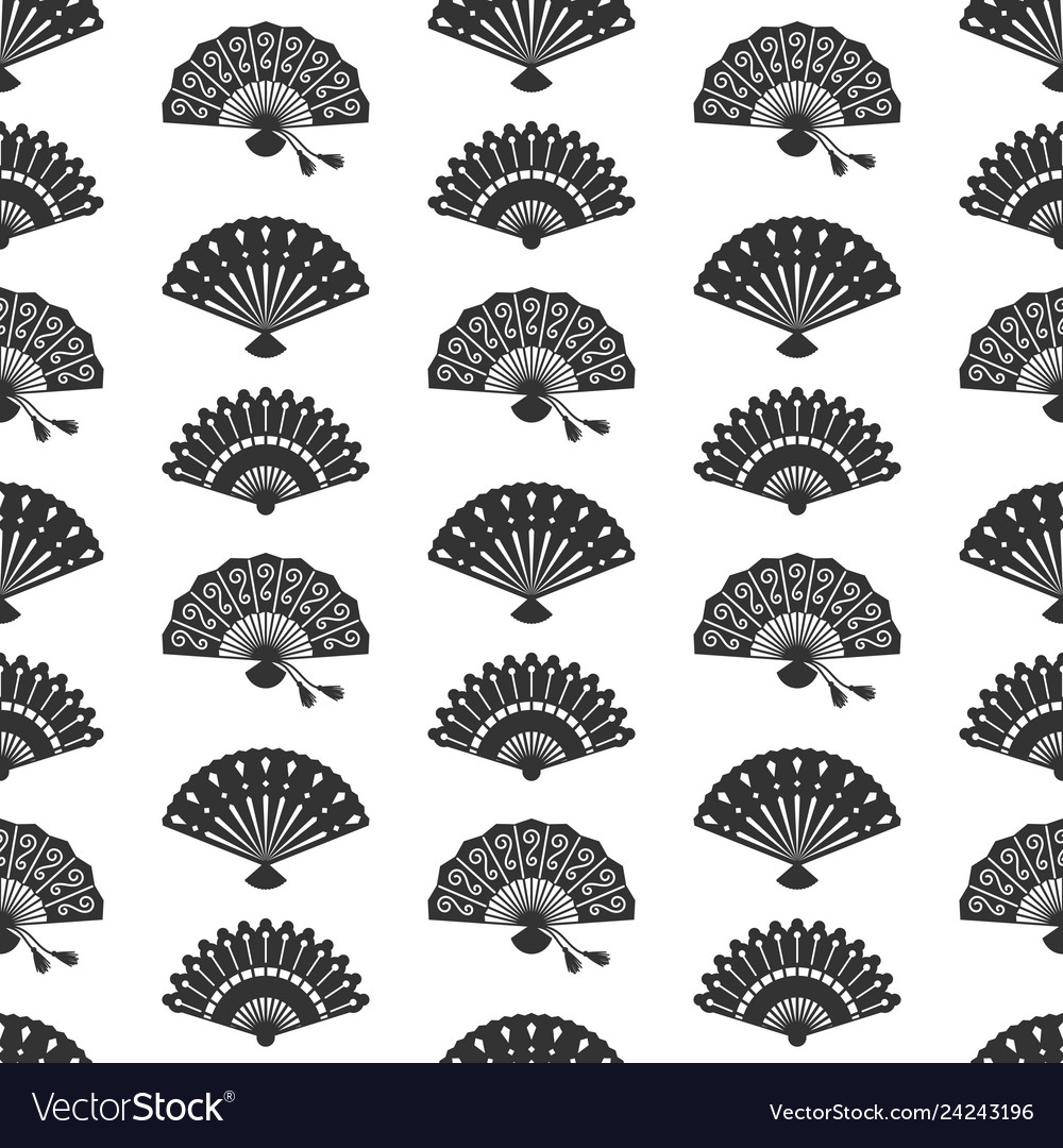 Fans silhouettes seamless pattern