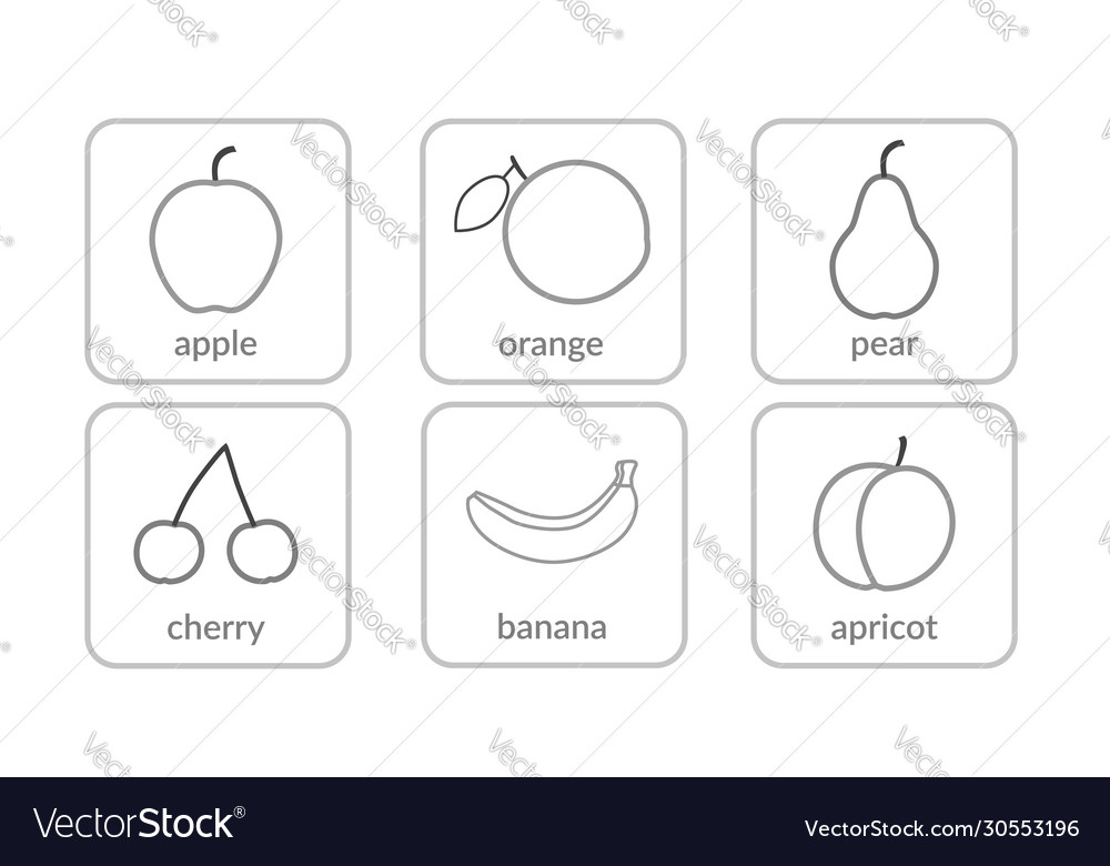 Fruits and berries contours objects outline icons
