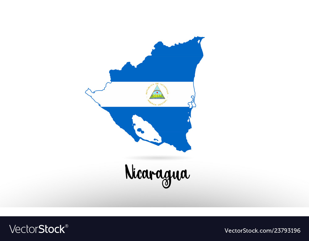 Nicaragua Country Flag Inside Map Contour Design Vector Image