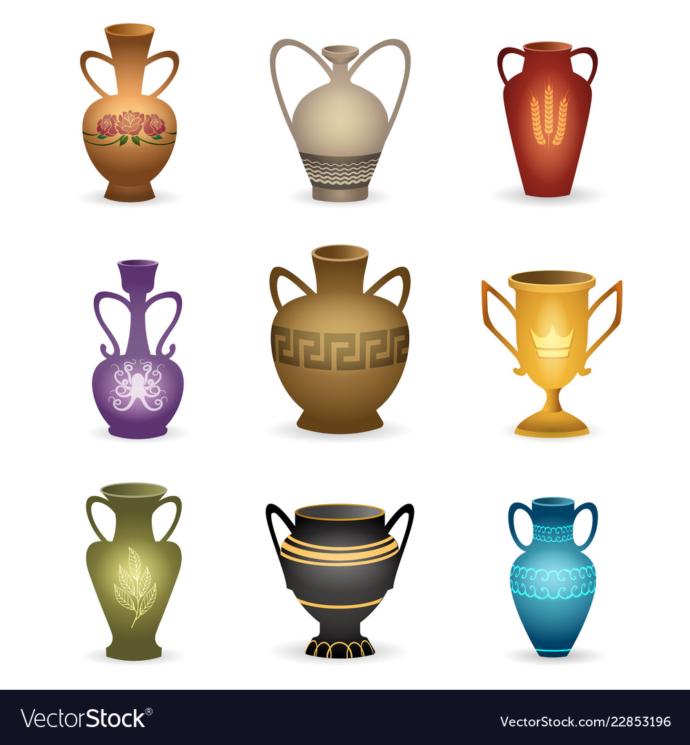 Old vases isolated on white