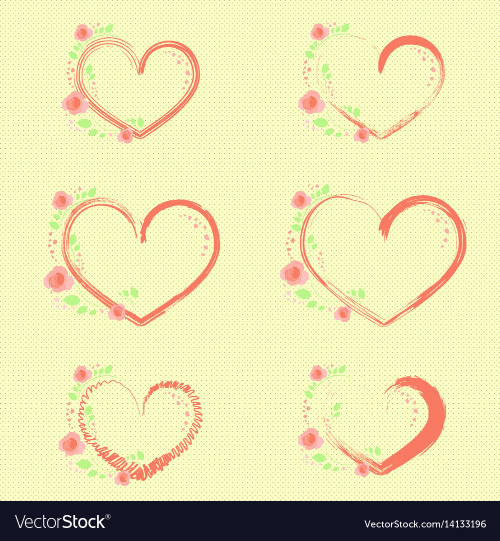 Pastel roses and hearts vector image