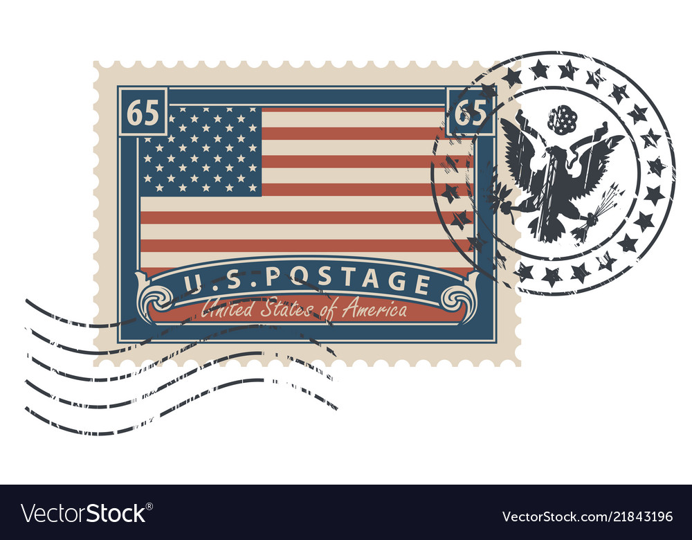 Postage stamp with the image of the american flag