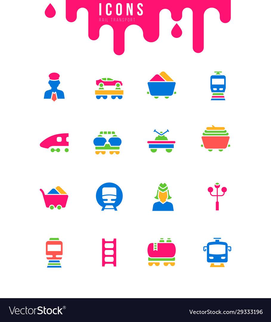 Set simple icons rail transport
