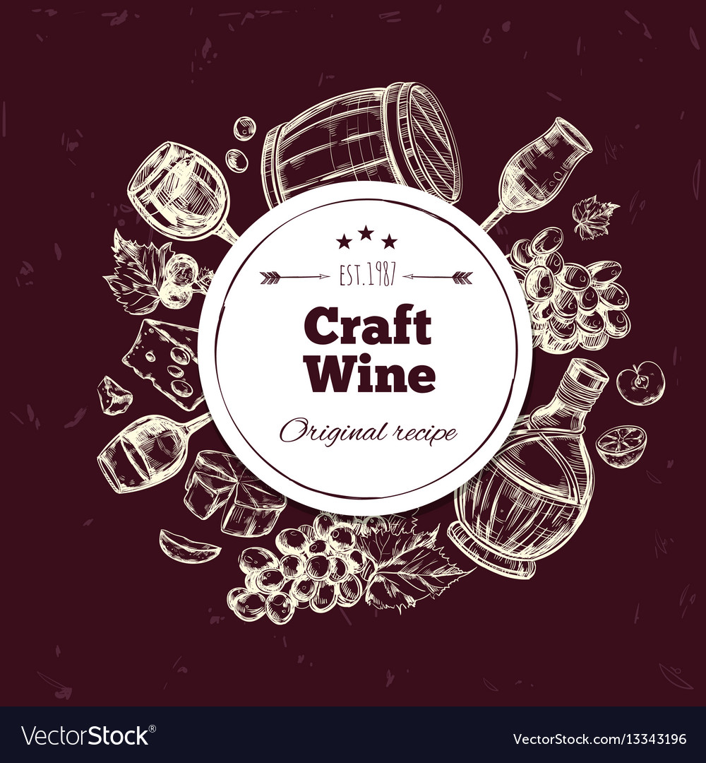 Traditional wine production concept vector image