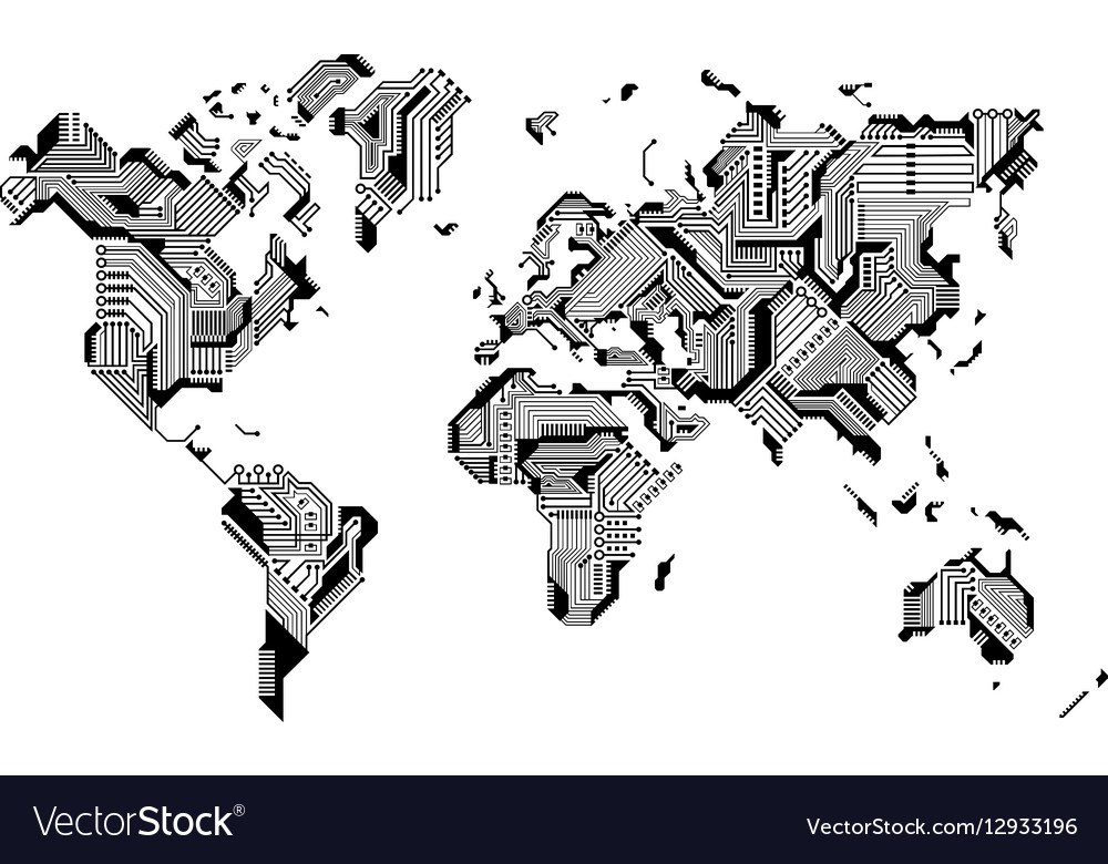 World Map Circuit Board Design vector image