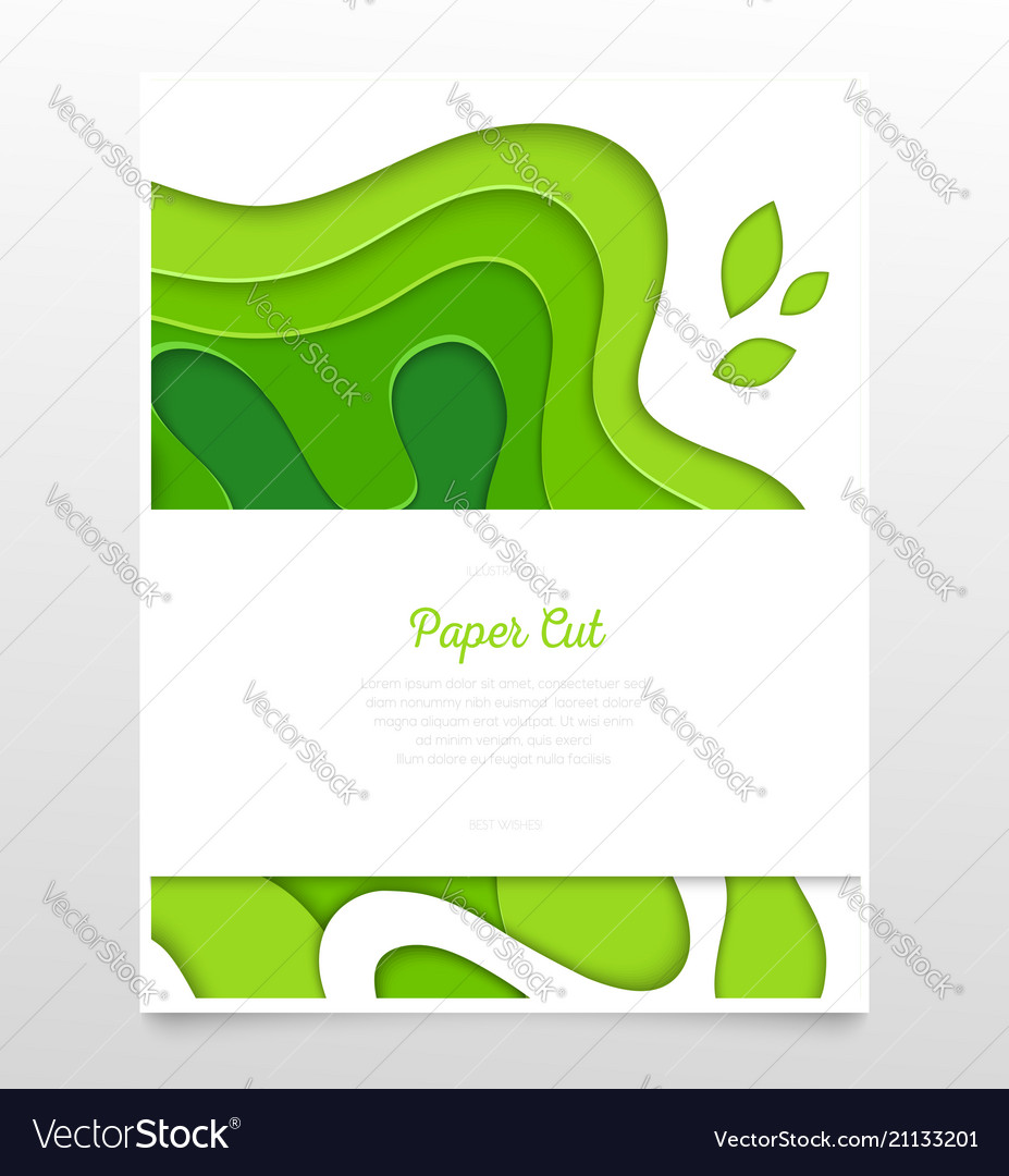 Abstract green layout - paper cut banner