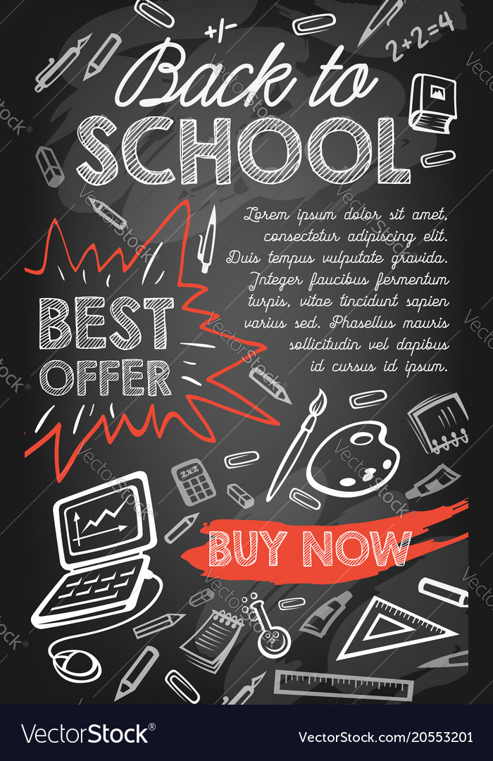 back to school sale offer or discount promo banner