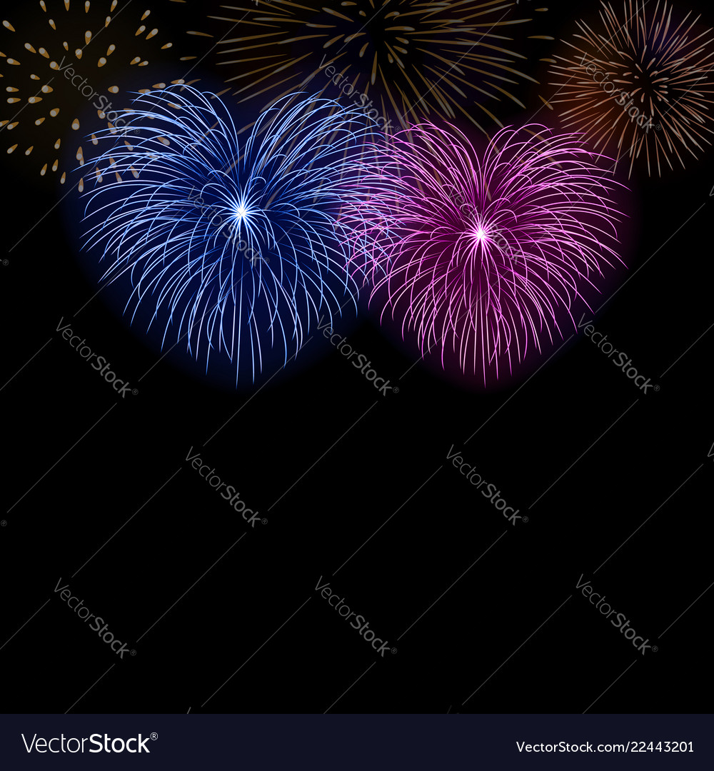 Beautiful heart-fireworks cute background card vector