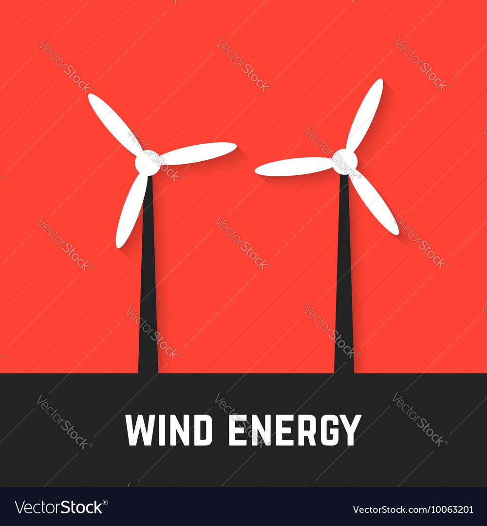 Black and white wind motors on red background