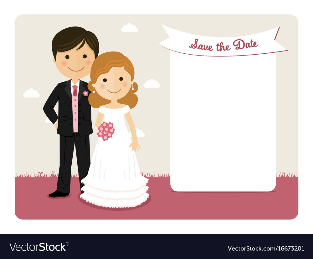Cartoon wedding invitation with a smiling couple vector image
