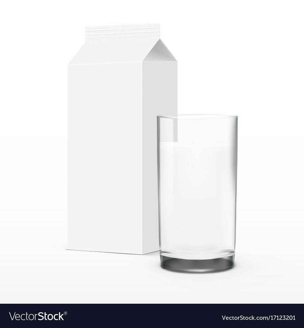Clear white glass milk with package vector image