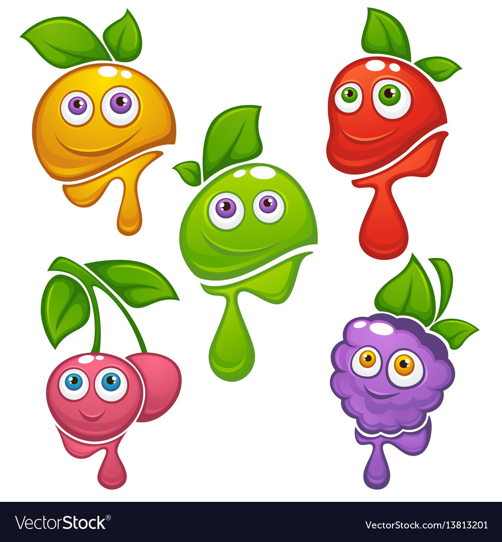 Collection of fresh funny cartoon fruits and