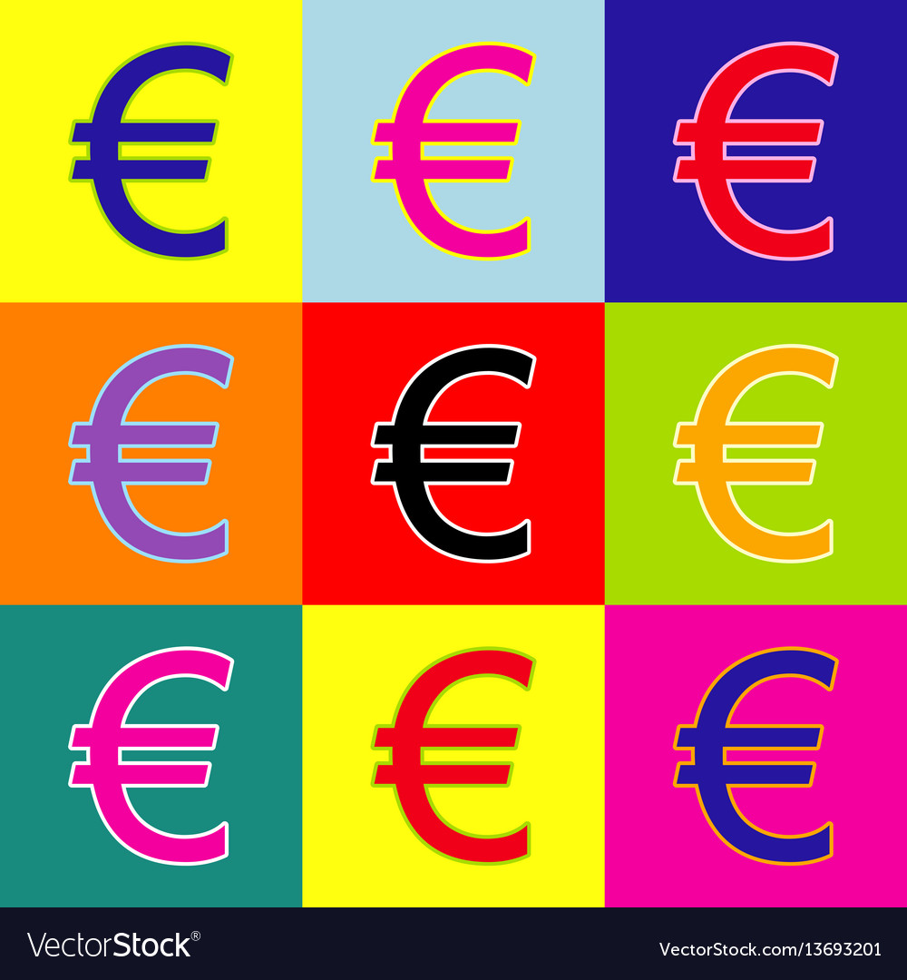 Euro sign pop-art style colorful icons