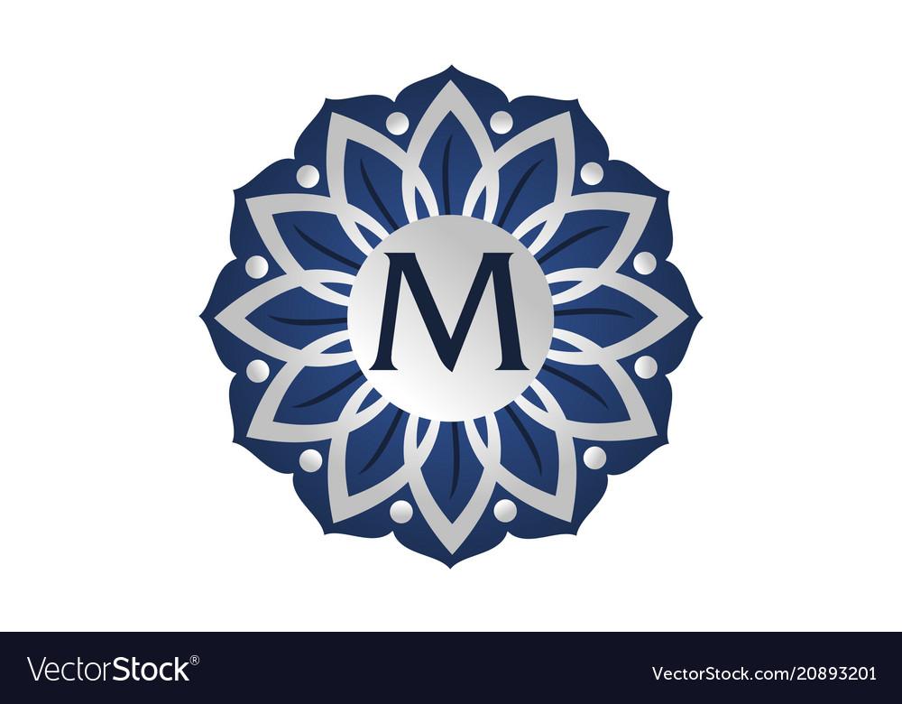 Flower elegant icon initial m