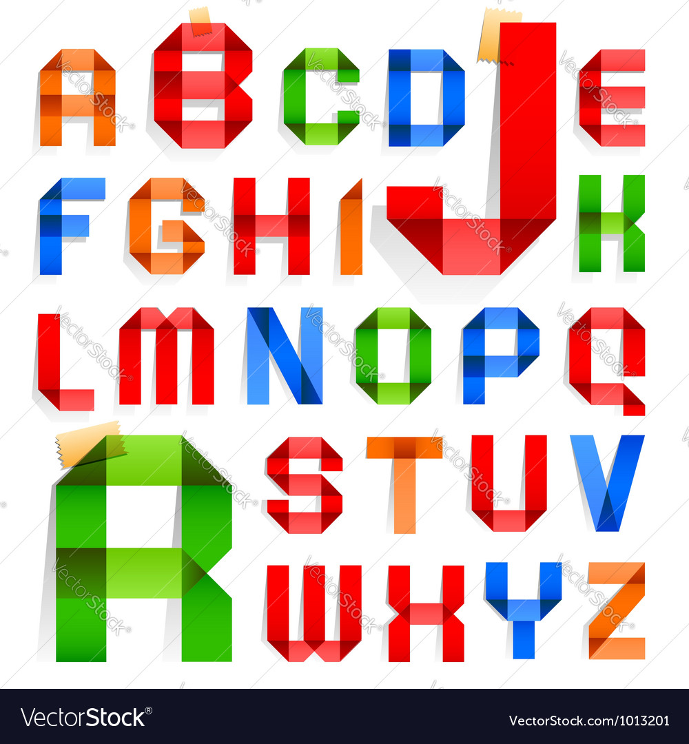 Font folded from colored paper - Roman alphabet