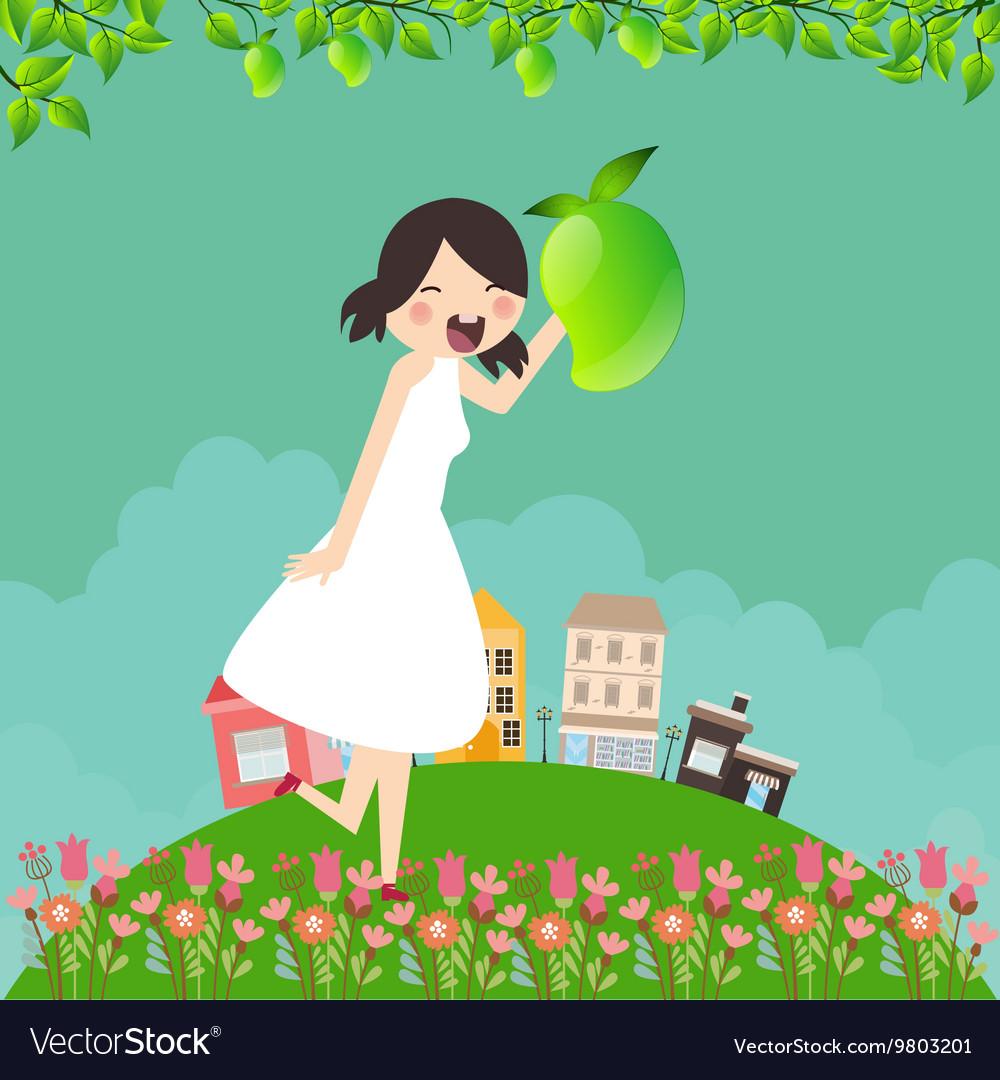 Girl cartoon smile happy holding mango fruit with