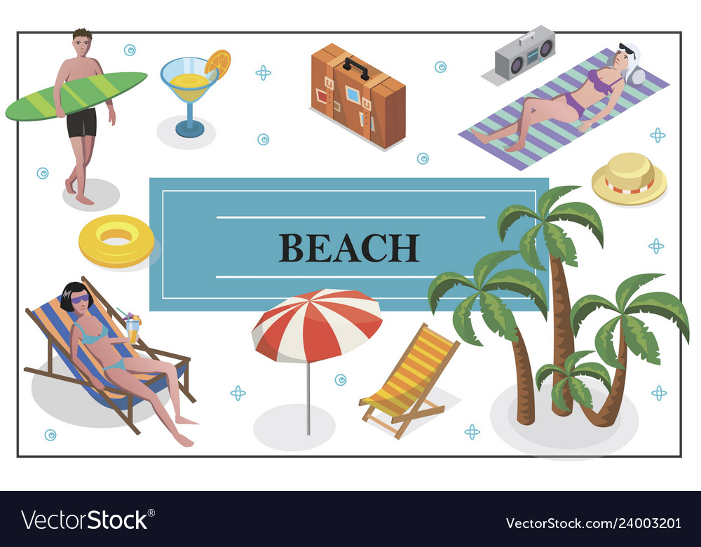 Isometric summer holiday concept