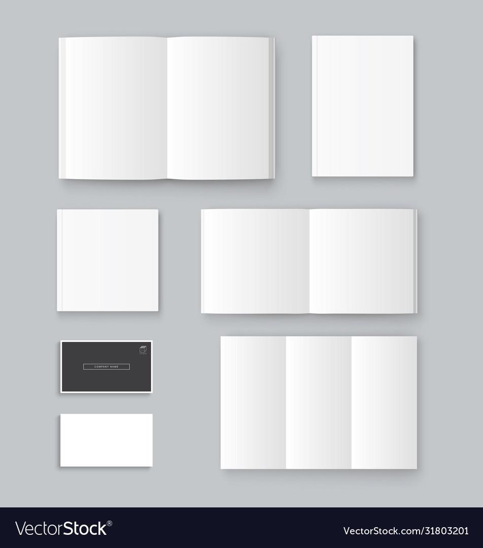 Mockup book brochure business card template